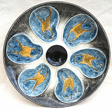 Quimper Oyster Plate Yellow Blue Seaweed Oriot Artist Keraluc France 1950