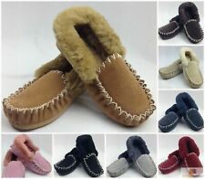 100% Sheepskin Moccasins Slippers Winter Casual Genuine Slip On UGG Non-Slip
