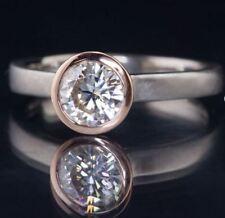 1Ct Round Cut Moissanite Bezel Set 2 Tone Wedding Engagement Ring 14k White Gold