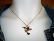 "18"" Hummingbird Rhinestone Gold Plated Stainless Steel Fine Chain Necklace"