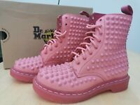 Dr Martens spike Ladies ankle boots Pink Leather 8 Eyelets Size 4