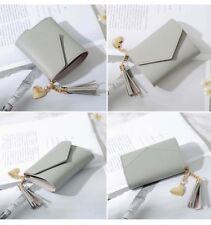 Fashion Women's Short Mini PU Wallet Leather Coin Card Holder Money Purse Grey