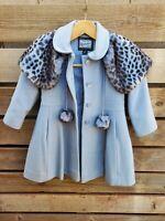 Vintage Rothschild girls Wool coat blue leopard peacoat  jacket w/ hat Size 4t