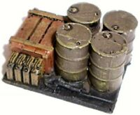 SGTS MESS VL11 1/72 Resin WWII Two Bases of Four Oil Drums, Crates + Jerry Cans
