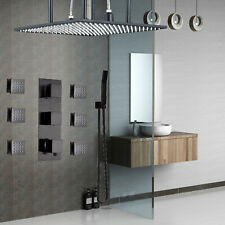Thermostatic Shower Faucet Combo 20'' Rainfall Massager Body System Jet Bronze