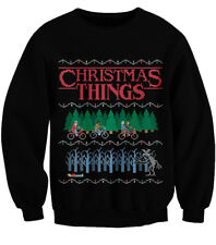 CHRISTMAS THINGS UGLY JUMPER STRANGER THINGS PARODY SWEATER XMAS TREES [XS-3XL]