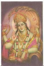 Shri Vishnu  Worship God Litho Print Picture Postcards Lord of Power & Wealth