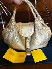 FENDI GOLD METALLIC NAPPA LEATHER SPY BAG W/DUST BAG! MINT CONDITION! $2000!