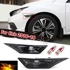 Front Side Marker Signal Light Smoke Lens For Honda 2016-2018 Civic W/ LED Light