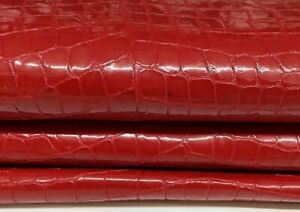 PATENT RED CROCODILE TEXTURED Lambskin leather skin skins 7sqf 1.0mm #A7252