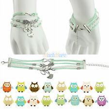 New Fashion Jewelry Owl Tree Branch Bird Women Leather Bracelet Green Chain Cute