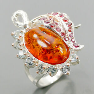 Jewellery Handmade Amber Ring Silver 925 Sterling  Size 8 /R166764