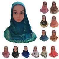 Islamic Arab Hijab Girls Hats Muslim Scarf Shawls Cap Wrap Kids Headwear Amira