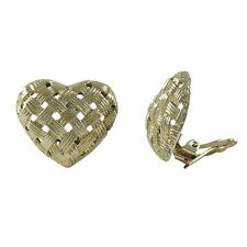 Genuine Gold Plated Sterling Silver Woven Crisscross Heart Clip On Earrings