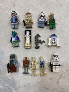 12 Lego Star Wars Minifigures Lot Figures Boba Fett R2d2 Sebulba Troopers