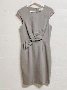 Calvin Klein Grey Lined Sheath Dress Size 4 Wedding, Party, Cap Sleeve, Midi