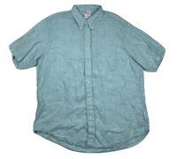 Brooks Brothers 1818 Regent Blue 100% Linen Button Front Short Sleeve Mens XL
