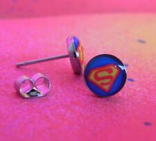 DC Comics Superman Logo Blue & Red 316L Surgical Steel 8mm Stud Earrings