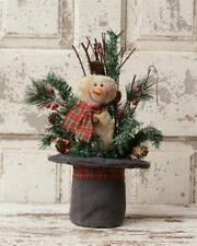 Primitive Country Black Top Hat with Snowman Pine Bough Pinecones Twigs Snow