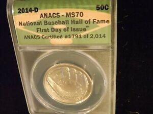 2014-D  50C      Baseball Hall Of Fame       Anacs  MS 70