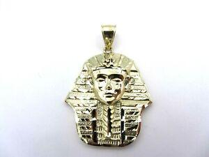 10k Yellow Gold Fine Jewelry Solid Pharaoh Egyptian King Tut Pendant