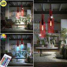 RGB Led Pendant Lights Dining Room Remote Control Glass Bottles Ceiling Lamps