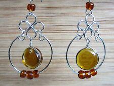 Earring Earrings Alpaca Silver Amber Colours Glass Native American Inka Maya 31
