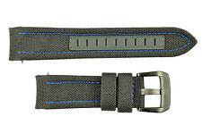 Luminox 5121 SXC GMT 24mm Gray Cordura Leather Watch Band Strap Blue Stitches