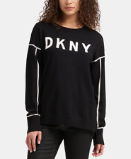 DKNY Womens Logo Sweater (Black/Ivory, Medium)