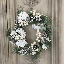 55cm Faux Fir Wreath White Christmas Flowers Glitter Berry Gisela Graham Door