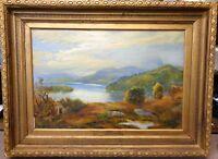 Antique Oil Painting SAILING on LOCH KATRINE Framed Scotland Stirling Trossachs