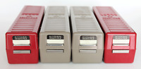 Lot of 4 Kodak Ready-File 35mm slide storage holders, red, tan,