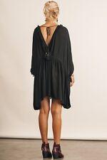 L To PLUS SIZE UMGEE BLACK Empire Waist Tie Keyhole V-Neck/Back Dress/Tunic BHCS