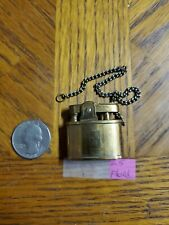 WORKING Vintage Pereline Brass Automatic Trench Cigarette Lighter w/ keyChain