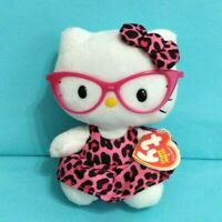 "Ty Sanrio Hello Kitty Plush Stuffed Animal Toy 6"" Pink Glasses 2012 w/ tags"