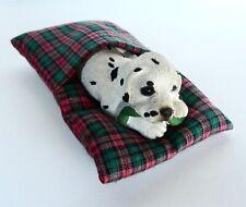 Vintage 1990 Brue Sandicast Pesky Peepers Dalmatian Dog Puppy Figurine In Bed