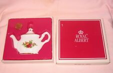 Old Country Rose Bone China Teapot Ornament; By Royal Albert 1998
