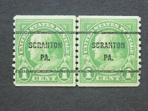 (1) MNH U S. Coil Line pair precancel stamp-1 c Franklin.w/a SCRANTON, PA cancel