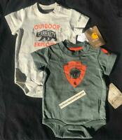 LOT OF 2 Carhartt infant baby BOYS OUTDOOR EXPLORER one piece MOOSE BEAR size 6M