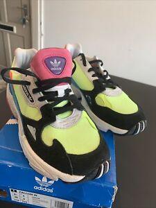 Adidas Women's Falcon W Low Sneakers Hireye/Black/Neon Size UK 5  (CG6210)