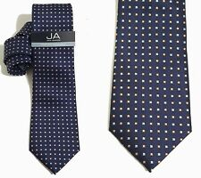 """Mens Necktie Blue Red Traditional Box Grid NEW Slim 3 1/4"""" JOHN ASHFORD $45 T11"""