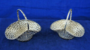 PAIR VINTAGE CHRISTOFLE SMALL SILVER PLATE WOVEN WIRE BASKETS