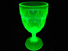 Green Vaseline glass teardrop wine goblet / uranium stemmed cordial yellow shot