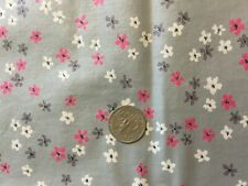 """Vintage 36"""" wide pink white gray tiny flowers on grey cotton fabric - 1/2 yd"""