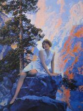 "Maxfield Parrish Edison Mazda Art ""Solitude"" Girl on Rock in Mountains Beautiful"