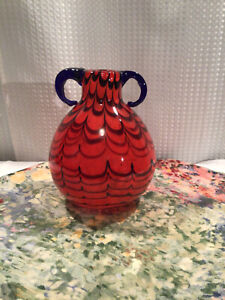 BLOWN GLASS RED AND BLUE SWIRL VASE