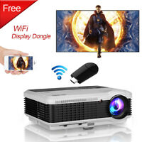LED 6000lm Projektor Beamer HD Heimkino Bundle WiFi Dongle Airplay For iPhone TV
