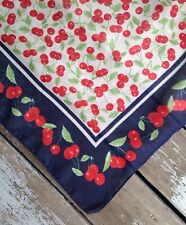 Vintage Italy Navy Blue Red Cherries Scarf Bohemian Kerchief Hankie Head Scarf