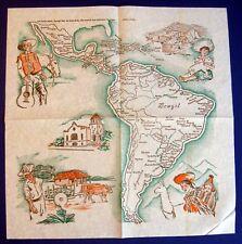 South & Central America ~ 1960 Latin America Map Napkin