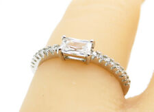 925 Silver - Sparkling Cubic Zirconia Solitaire Accent Ring Sz 6 - R11640